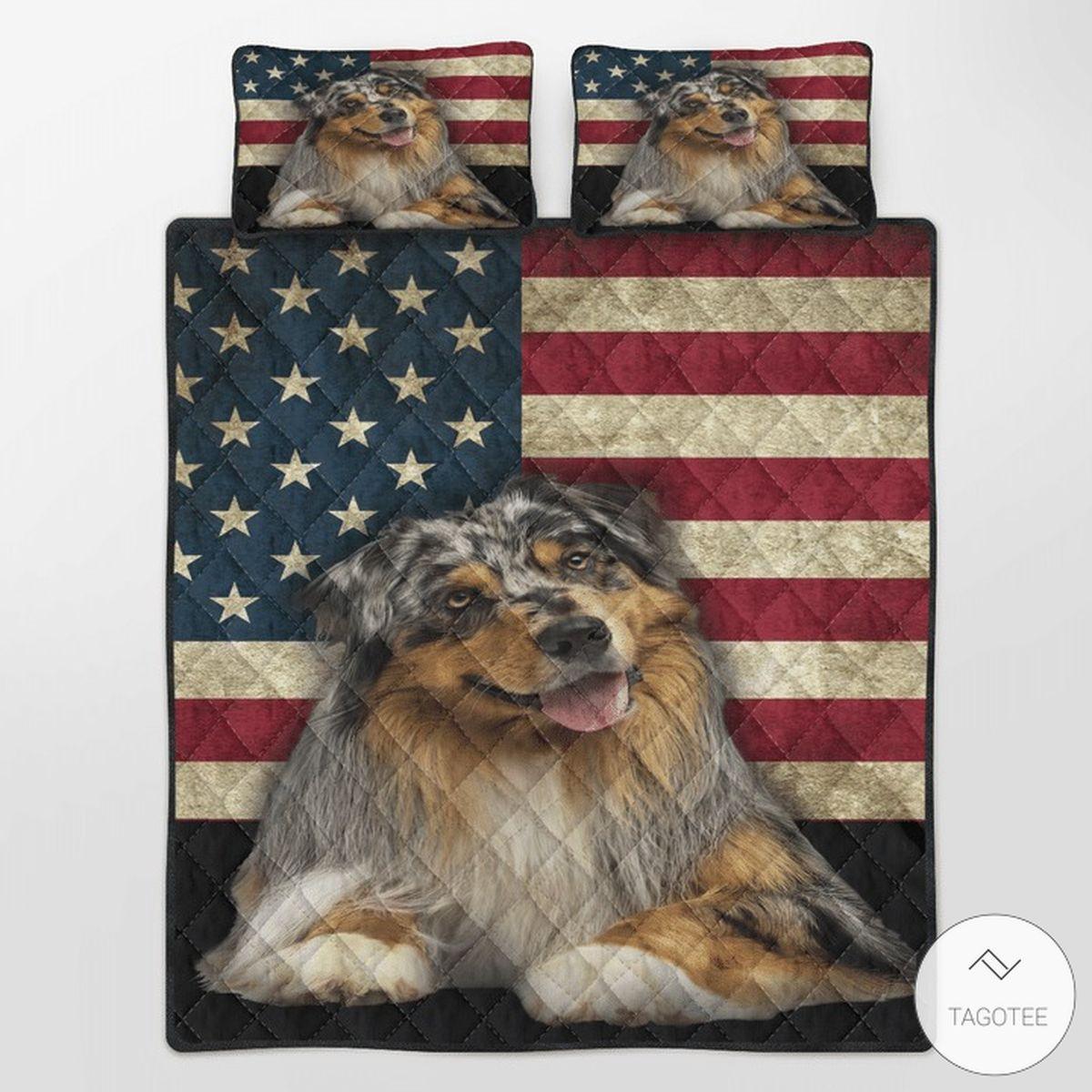 Australian Shepherd American Flag Quilt Bedding Set