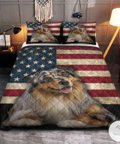 Australian Shepherd American Flag Quilt Bedding Setz