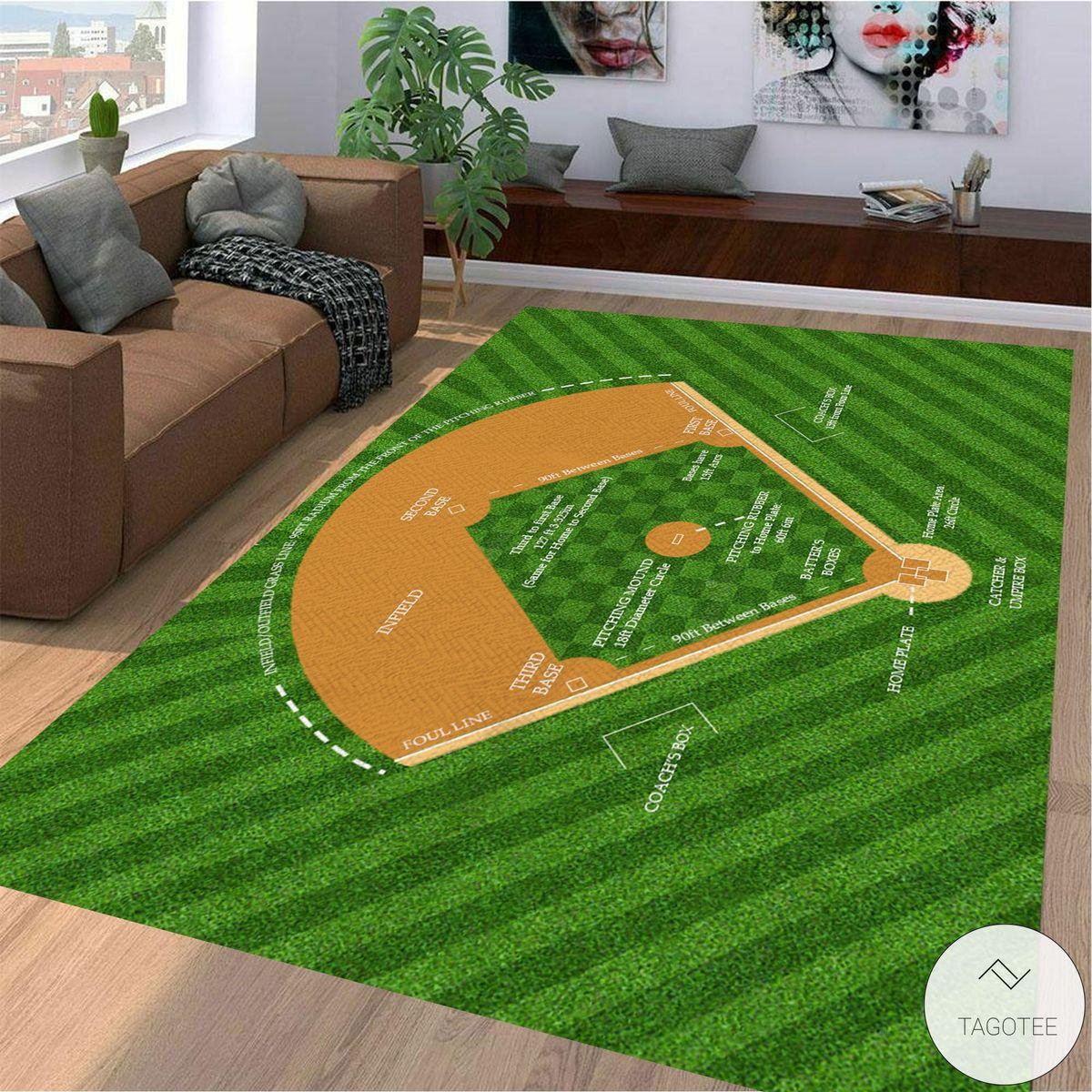 Baseball Diamond Diagram Rug