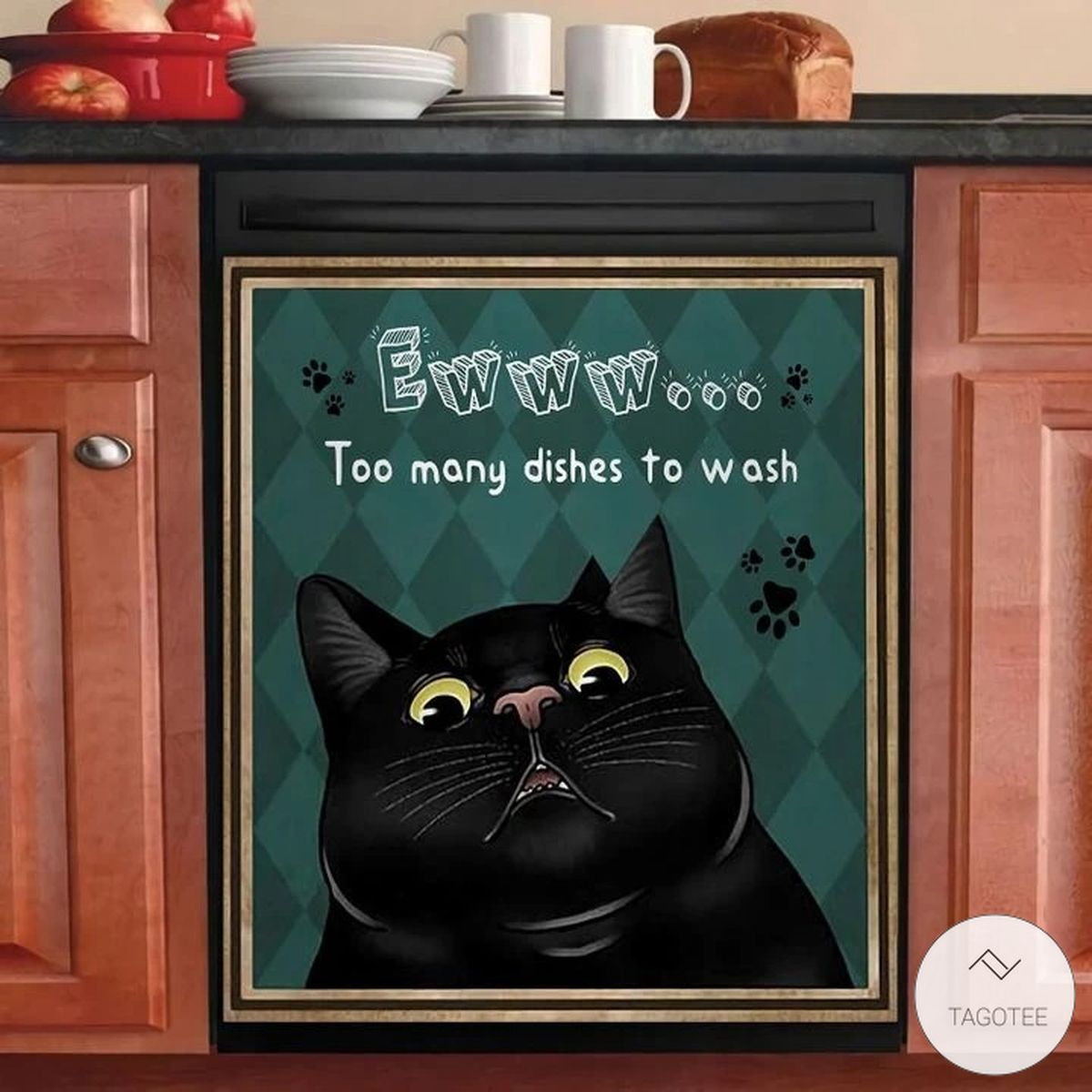 Black Cat Eww Too Many Dishes To Wash Dishwasher Cover