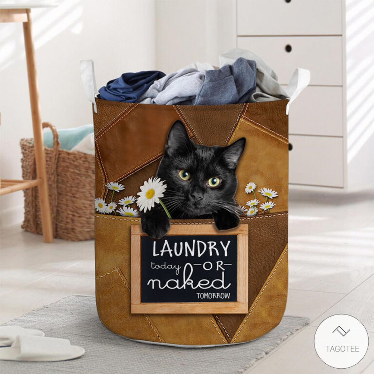 Black Cat Laundry Today Or Naked Tomorrow Laundry Basket