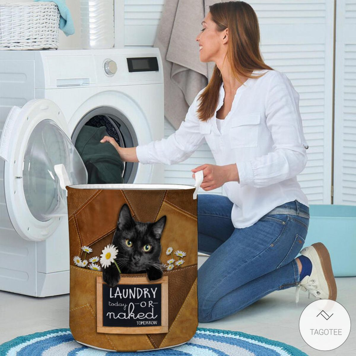 Black Cat Laundry Today Or Naked Tomorrow Laundry Basketc