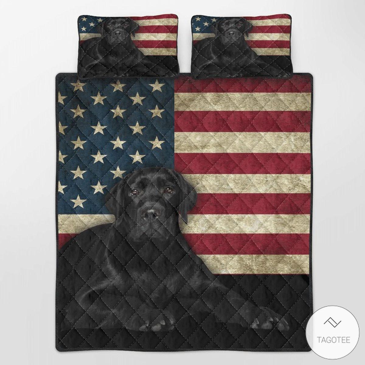 Black Labrador American Flag Quilt Bedding Set