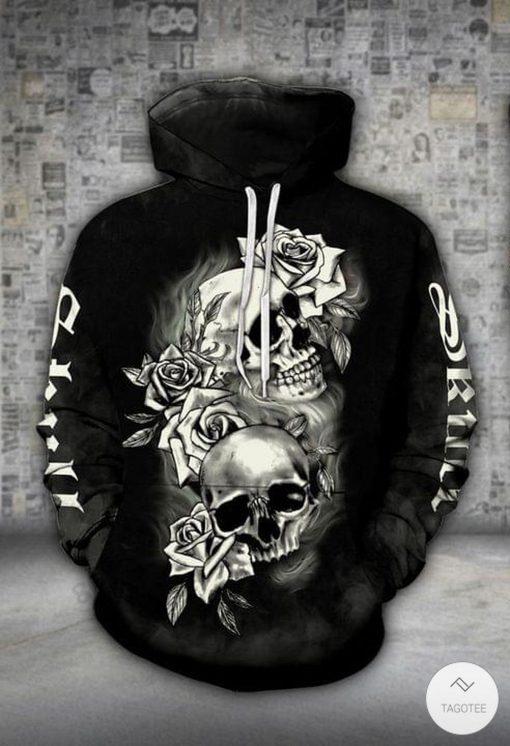 Black Skull Flowers Drawing 3D Hoodie