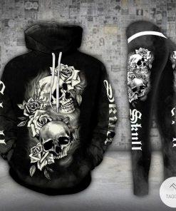 Black Skull Flowers Drawing 3D Hoodie and Legging