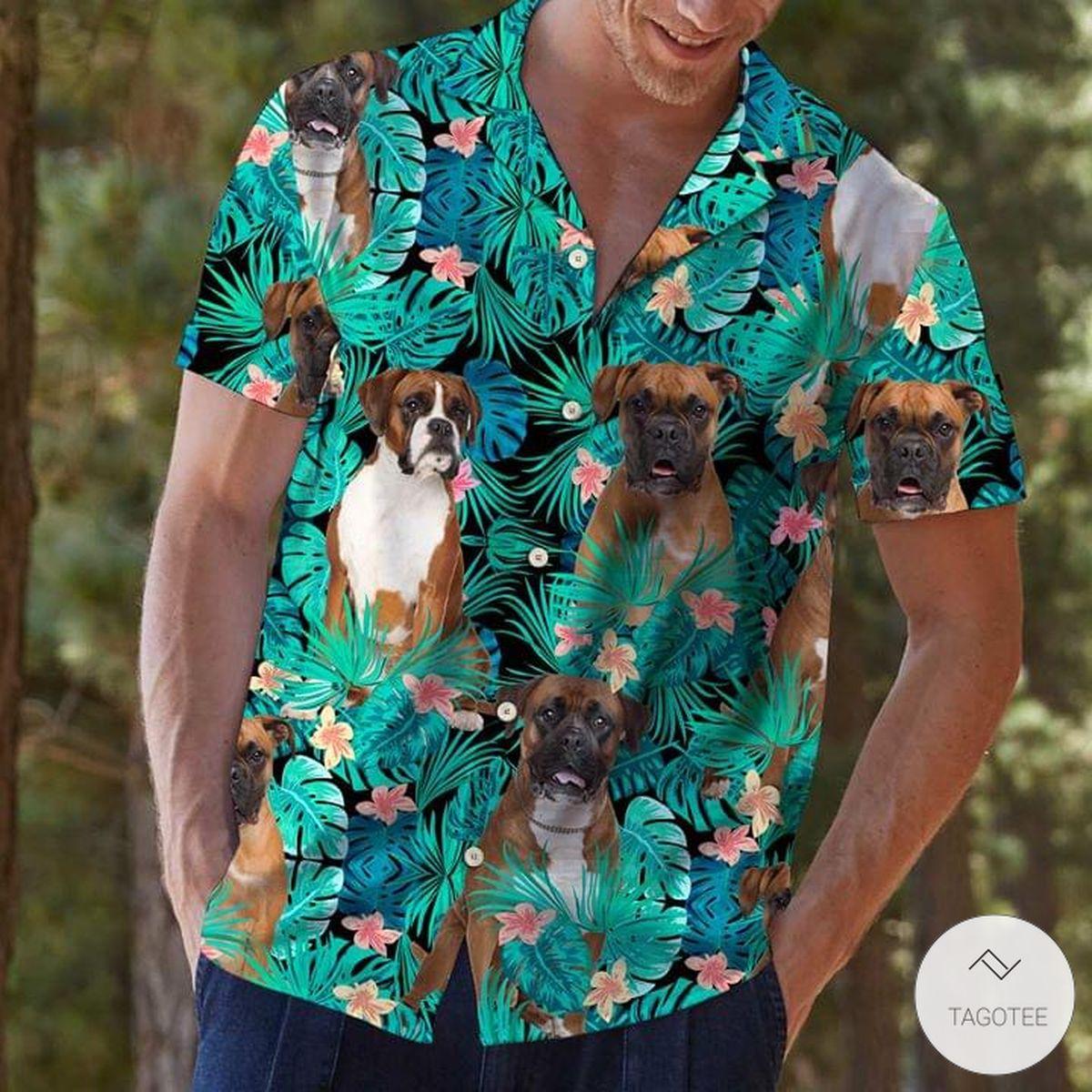 Boxer Dog Tropical Pattern Hawaiian Shirt