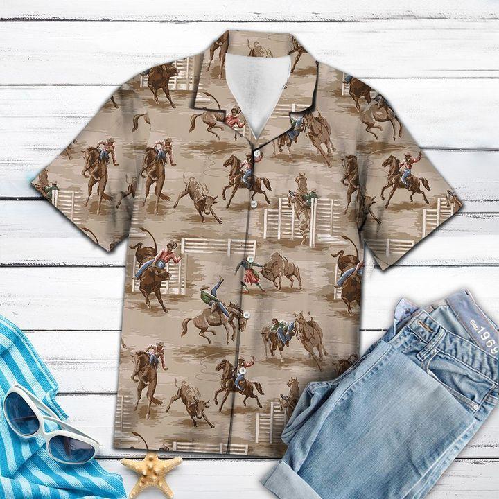 Bull riding hawaiian shirt