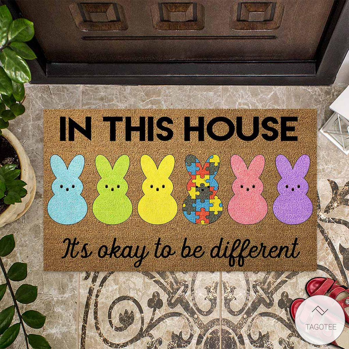 Easter Bunny In This House It's Okay To Be Different Autism Doormatz