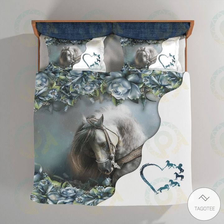 Horse Love Flowers Bedding Set