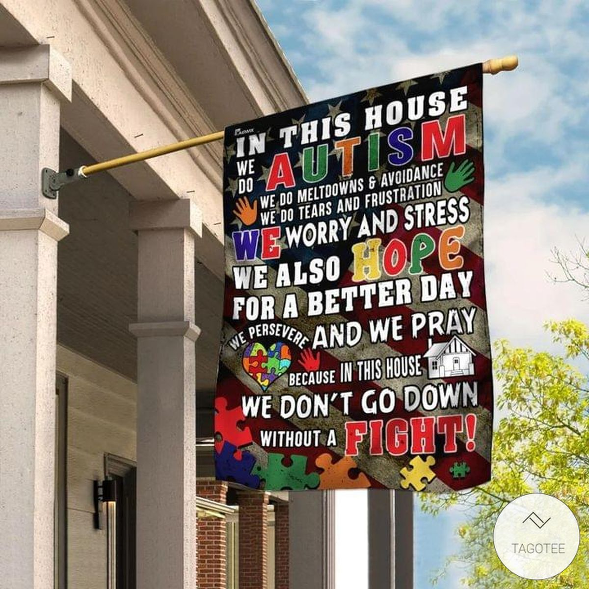 In this house we do Autism flag