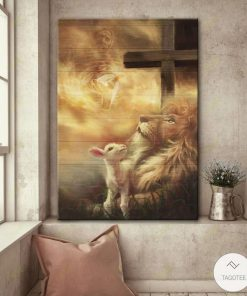 Jesus lion and lamb poster