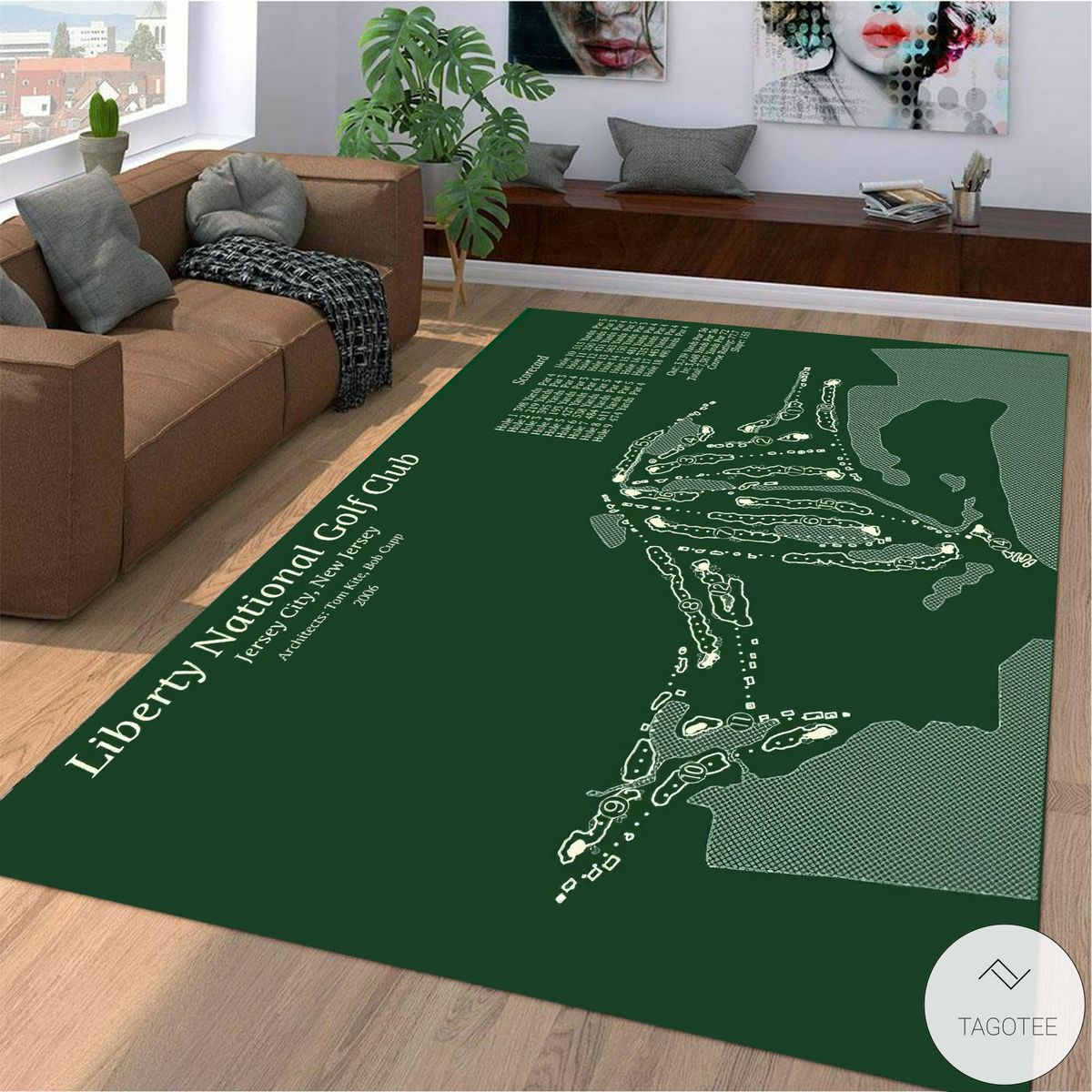 Liberty National Golf Course Course Map Layout Rug