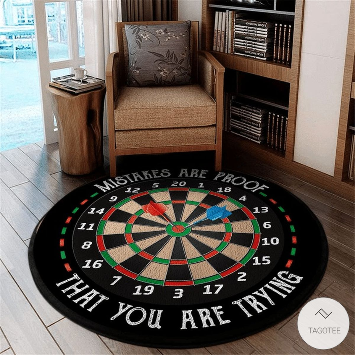 Mistakes are proof that you are trying Darts round rug