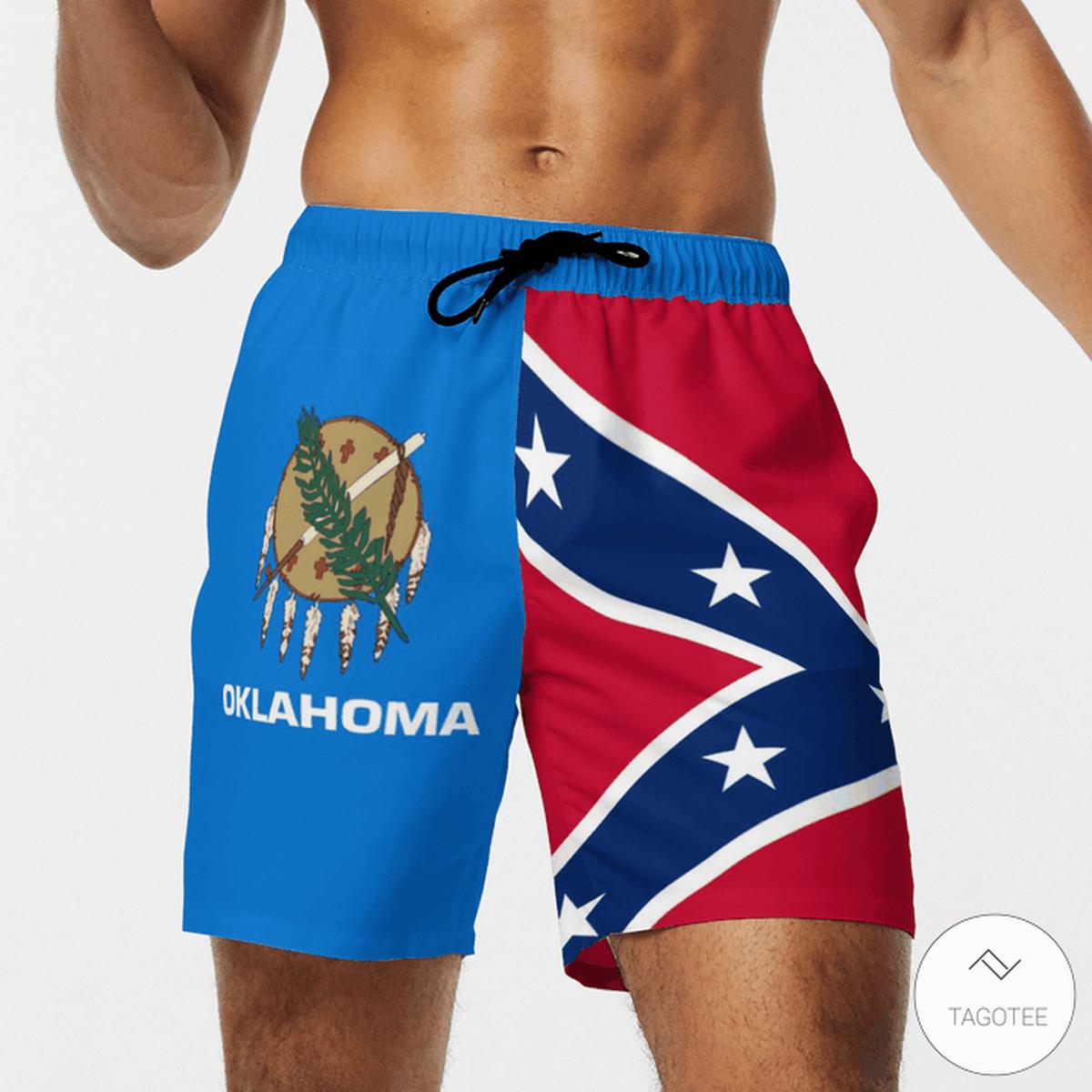 Oklahoma Confederate Flag 3D Hawaiian Beach Short