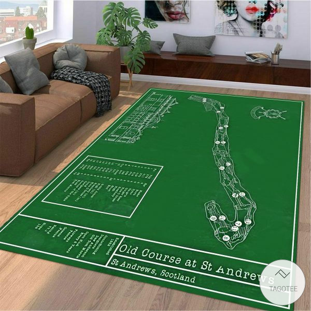 Old course at St. Andrews Golf map rug