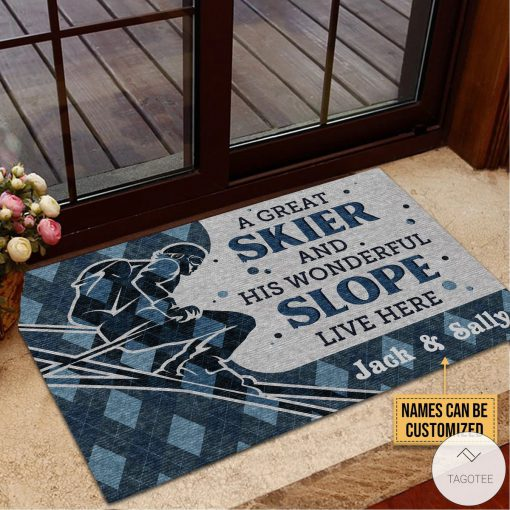Personalized A Great Skiier And Wonderful Slope Live Here Doormat