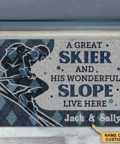Personalized A Great Skiier And Wonderful Slope Live Here Doormatx