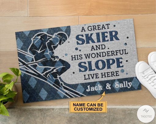 Personalized A Great Skiier And Wonderful Slope Live Here Doormatz