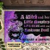Personalized A Witch And Her Little Monsters Live Here With One Handsome Devil Doormat
