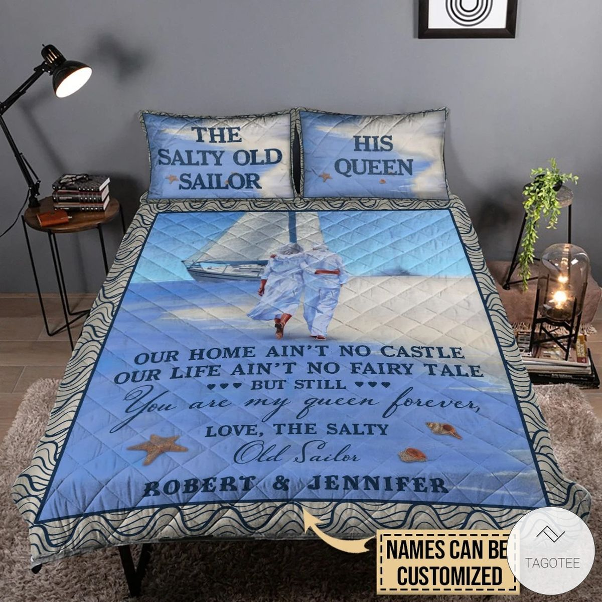 Personalized Beach The Salty Old Sailor Our Home Ain't No Castle Quilt Bedding Sets