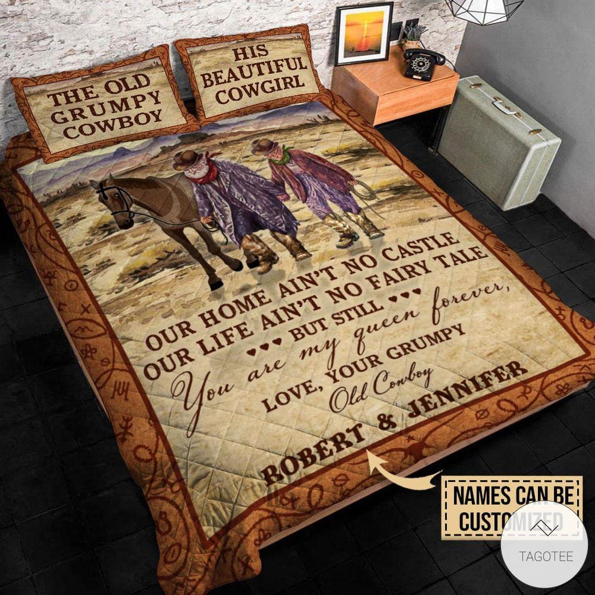 Personalized Cowboy Our Home Ain't No Castle Quilt Bedding Setz