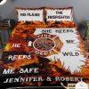 Personalized Firefighter He Keeps Me Safe She Keeps Me Wild Quilt Bedding Set