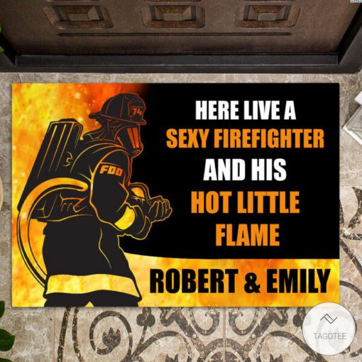 Personalized Here live a sexy firefighter and his hot little flame doormat