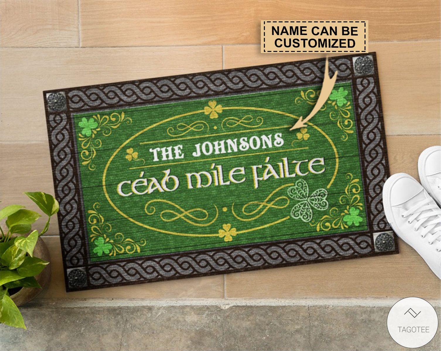 Personalized Irish Céad míle fáilte Doormatc