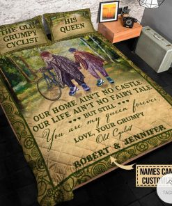Personalized The Old Grumpy Cyclist Our Home Ain't No Castle Quilt Bedding Setsc