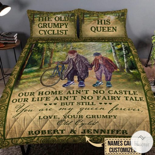 Personalized The Old Grumpy Cyclist Our Home Ain't No Castle Quilt Bedding Setsx