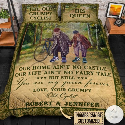 Personalized The Old Grumpy Cyclist Our Home Ain't No Castle Quilt Bedding Setsz