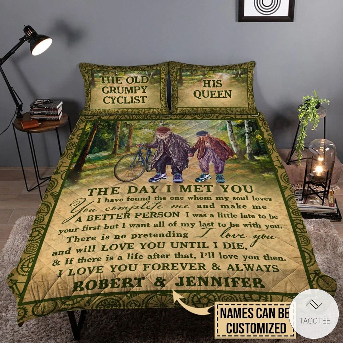 Personalized The Old Grumpy Cyclist The Day I Met You I Have Found The One Whom My Soul Love Quilt Bedding Set