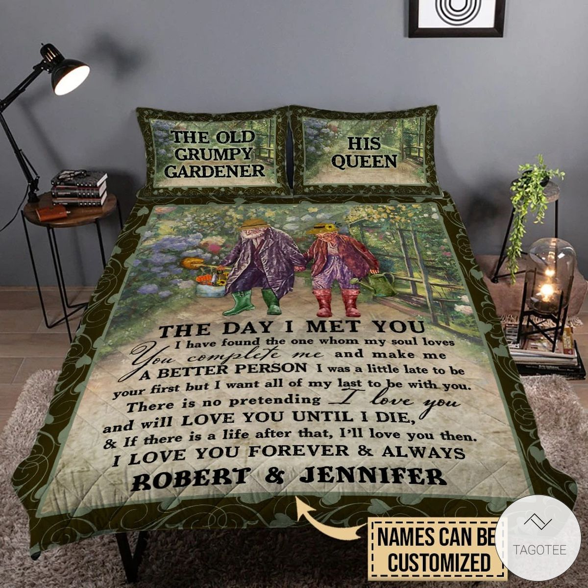 Personalized The Old Grumpy Gardener The Day I Met You I Have Found The One Whom My Soul Love Quilt Bedding Set