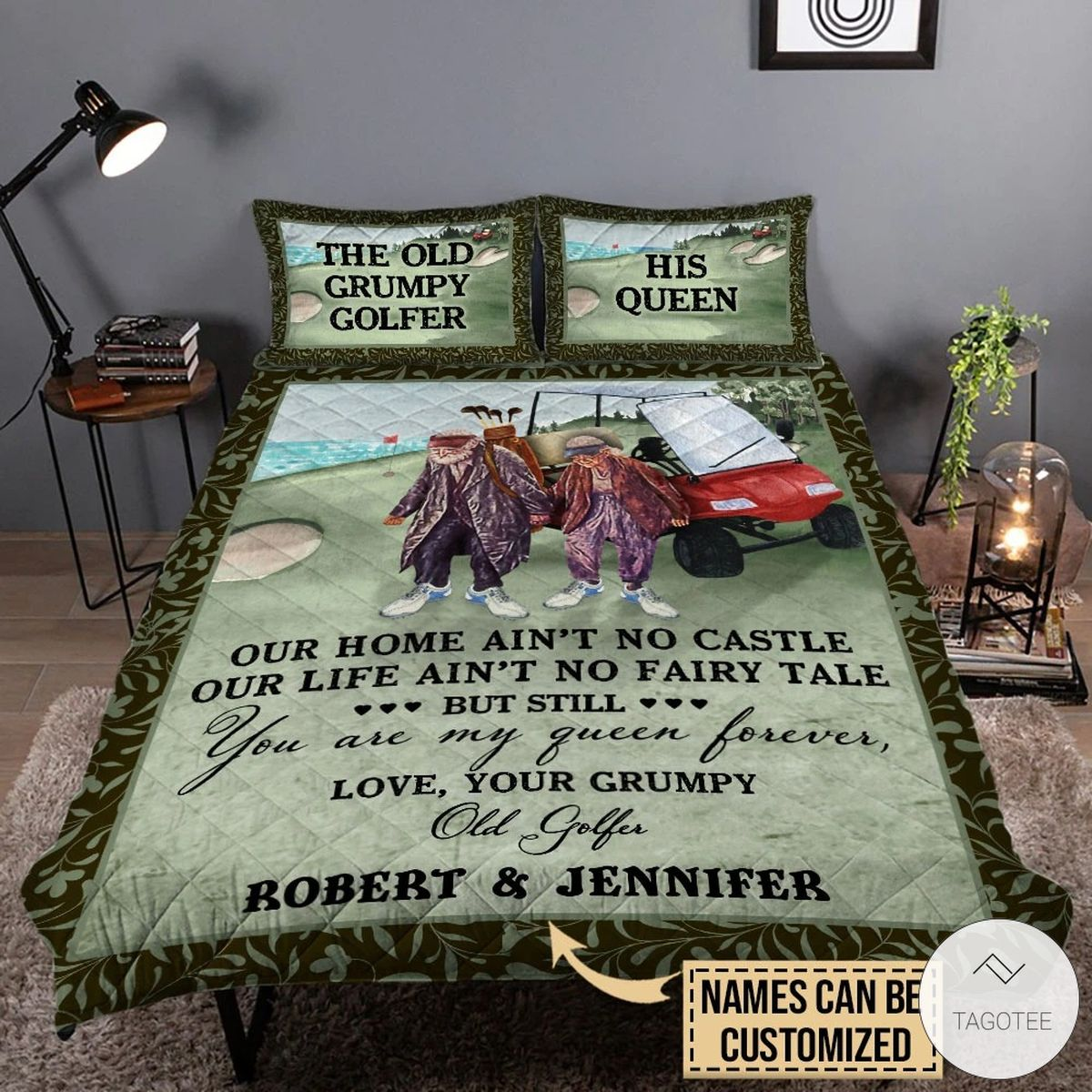 Personalized The Old Grumpy Golf Couple Our Home Ain't No Castle Quilt Bedding Sets