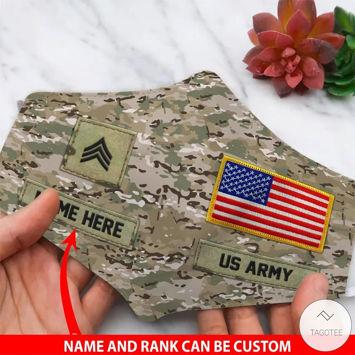 Personalized US Army Camouflage Face Mask