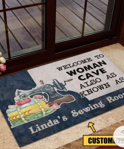 Personalized Welcome to woman cave also as know as sewing room doormat