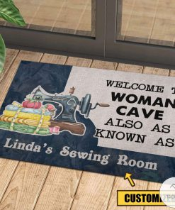 Personalized Welcome to woman cave also as know as sewing room doormatc