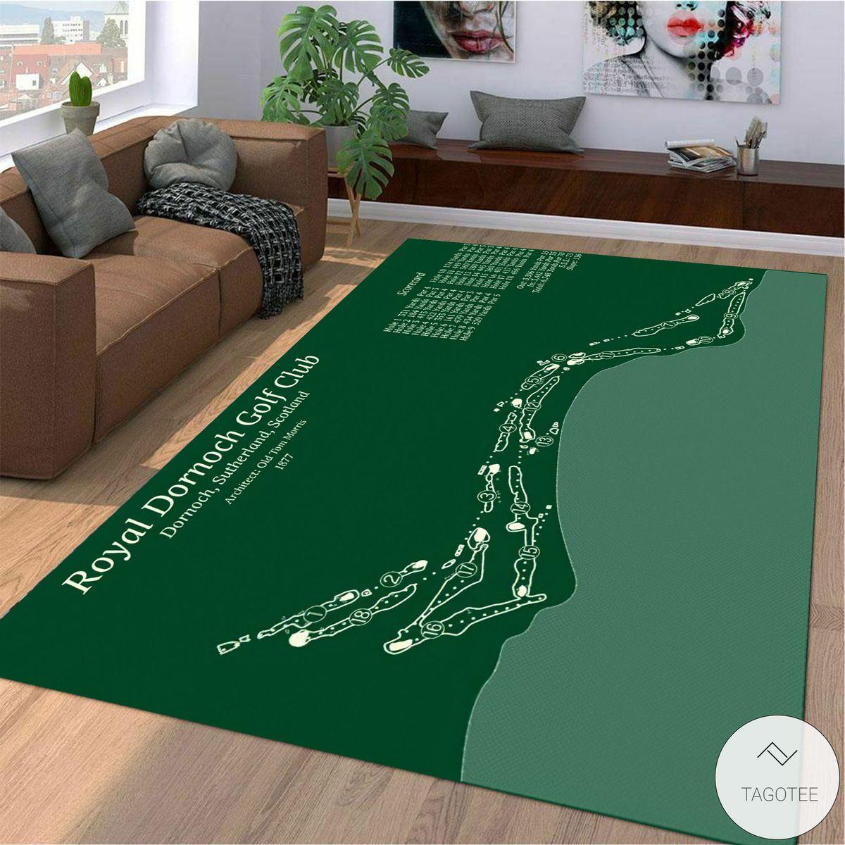 Royal Dornoch Golf Club Course Map Layout Rug