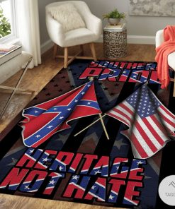 Southern Pride Heritage Not Hate Confederate Flag Rug
