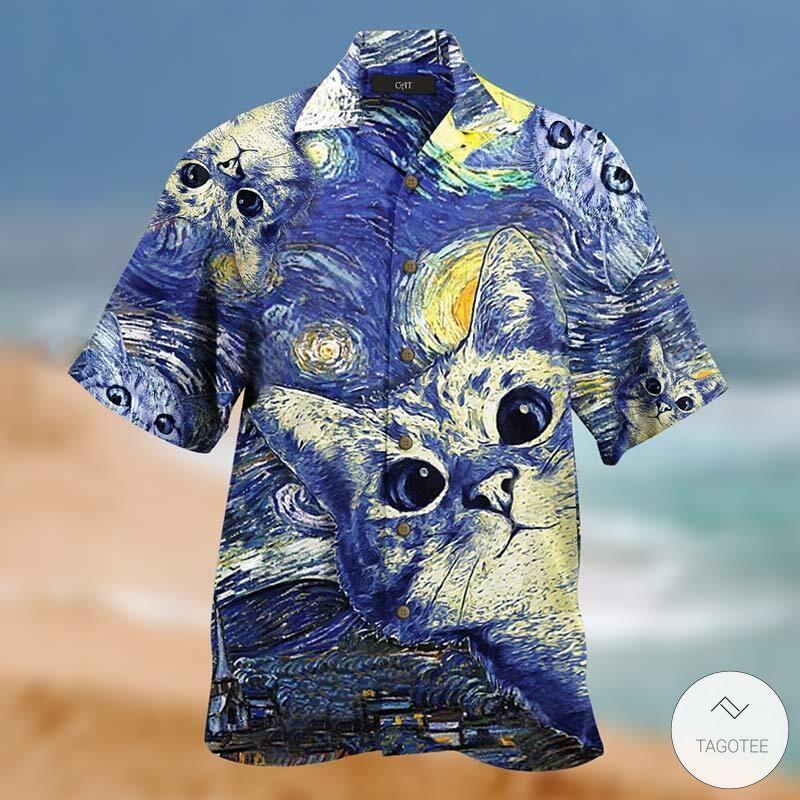 Starry Night Cats Unisex Hawaiian Shirt