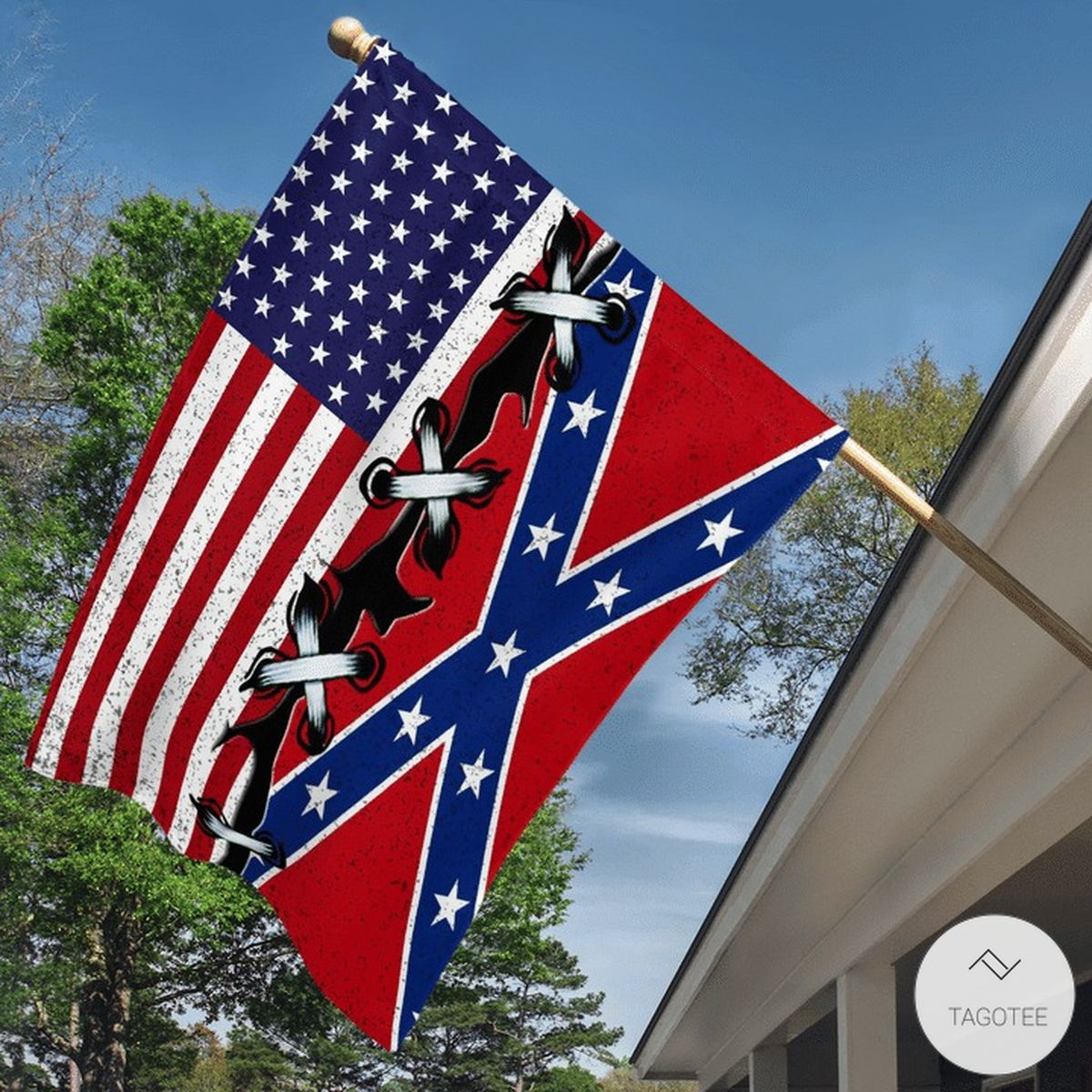 The Confederate Flag And US Flag