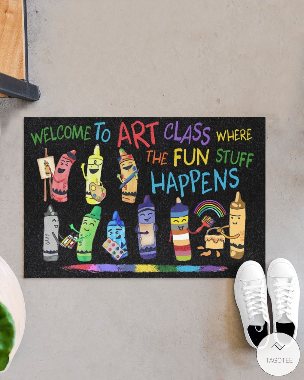 Welcome to art class where the fun stuff happens doormatx
