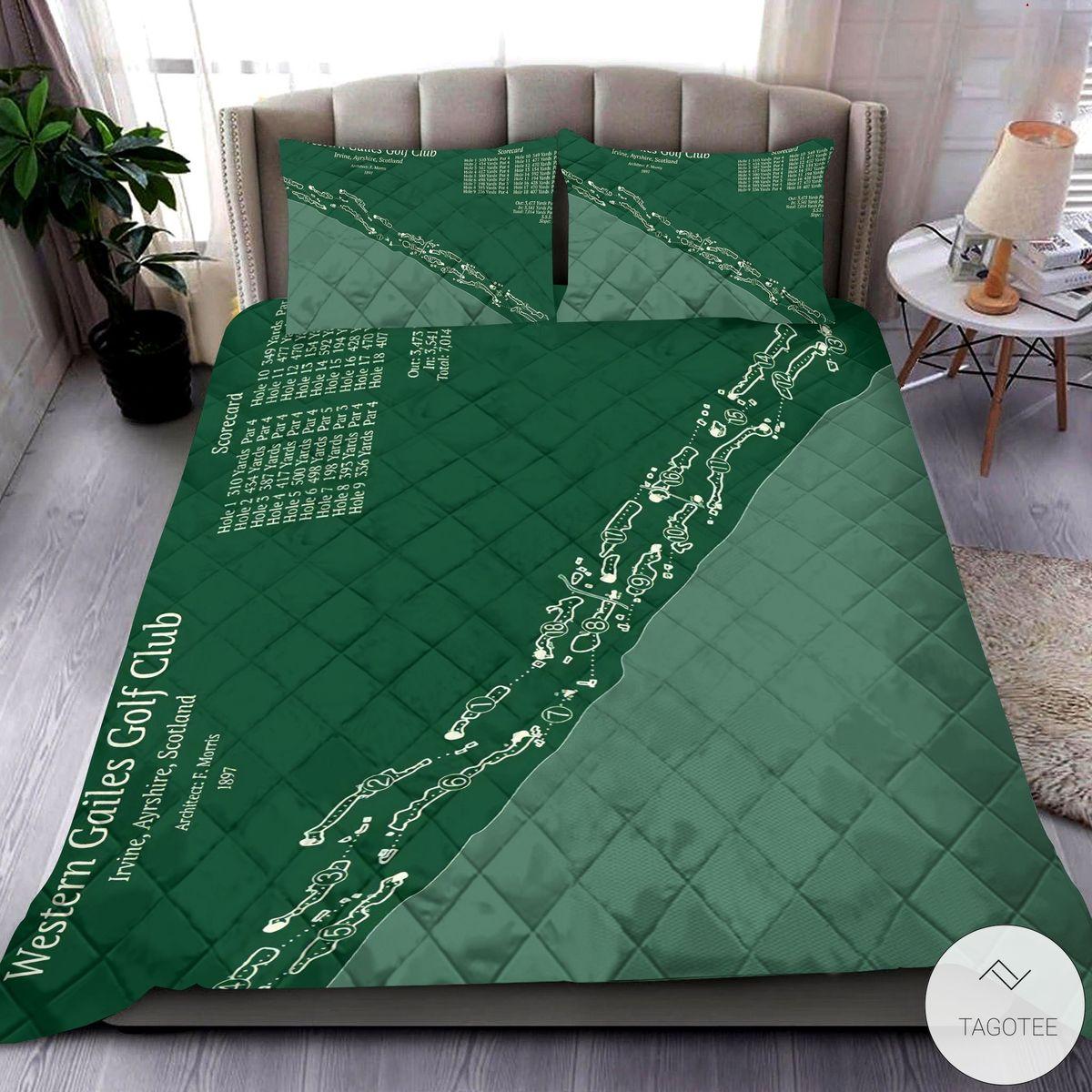 Western Gailes Golf Club Map 3D Quilt Bedding Set