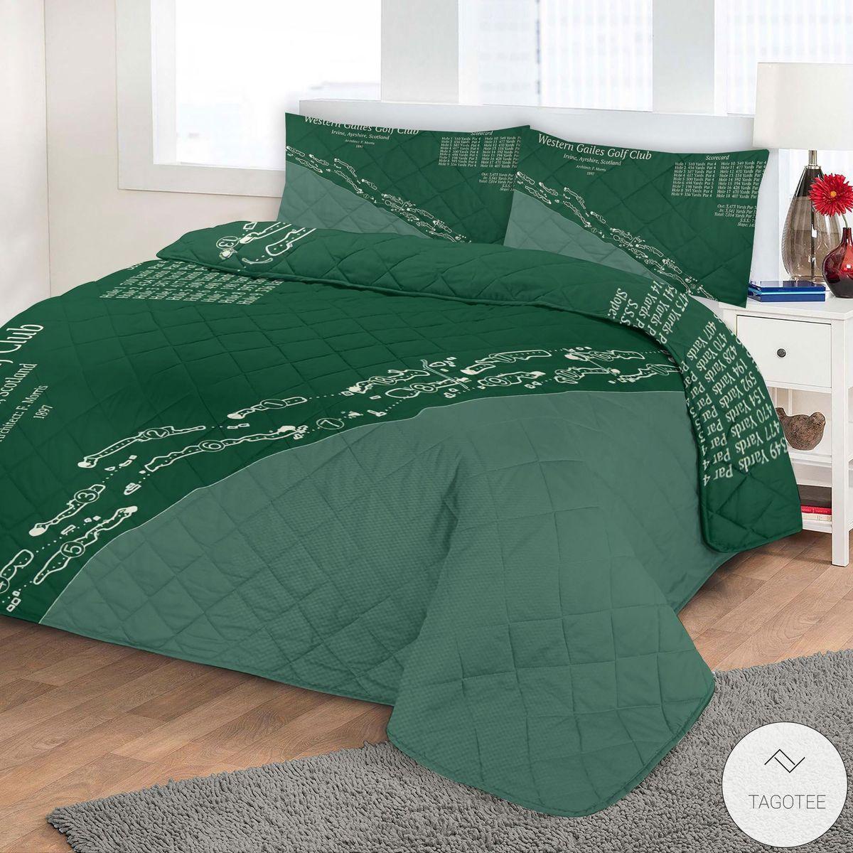 Western Gailes Golf Club Map 3D Quilt Bedding Setz