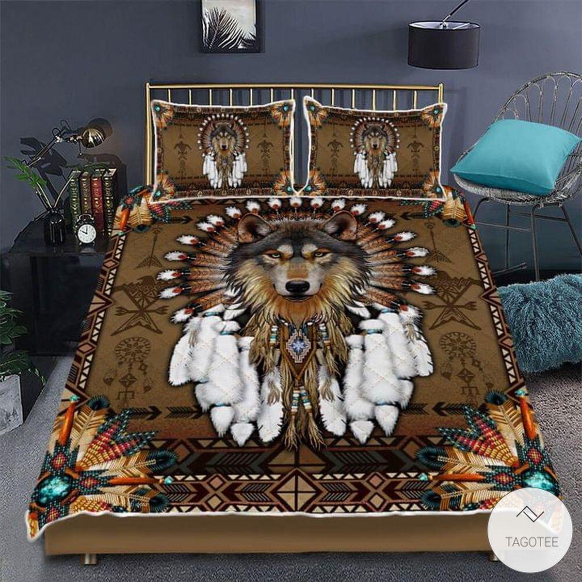 Wolf Native American Quilt Bedding Set