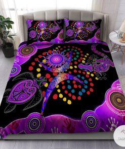 Aboriginal Naidoc Week 2021 Purple Turtle Lizard Bedding set
