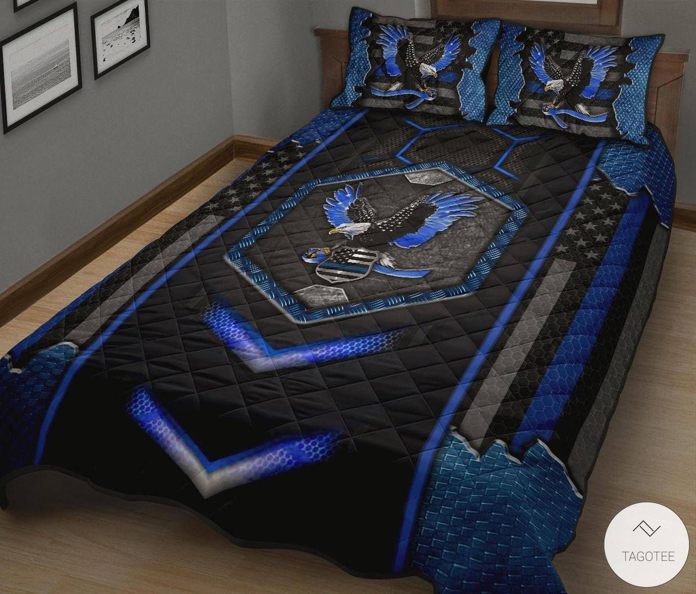 American Blue Eagle Quilt Bedding Setz