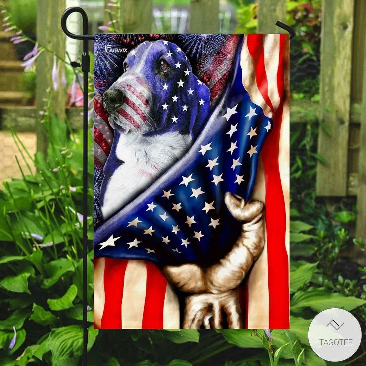 Basset Hound Celebrate Fourth Of July Independence Day Flag