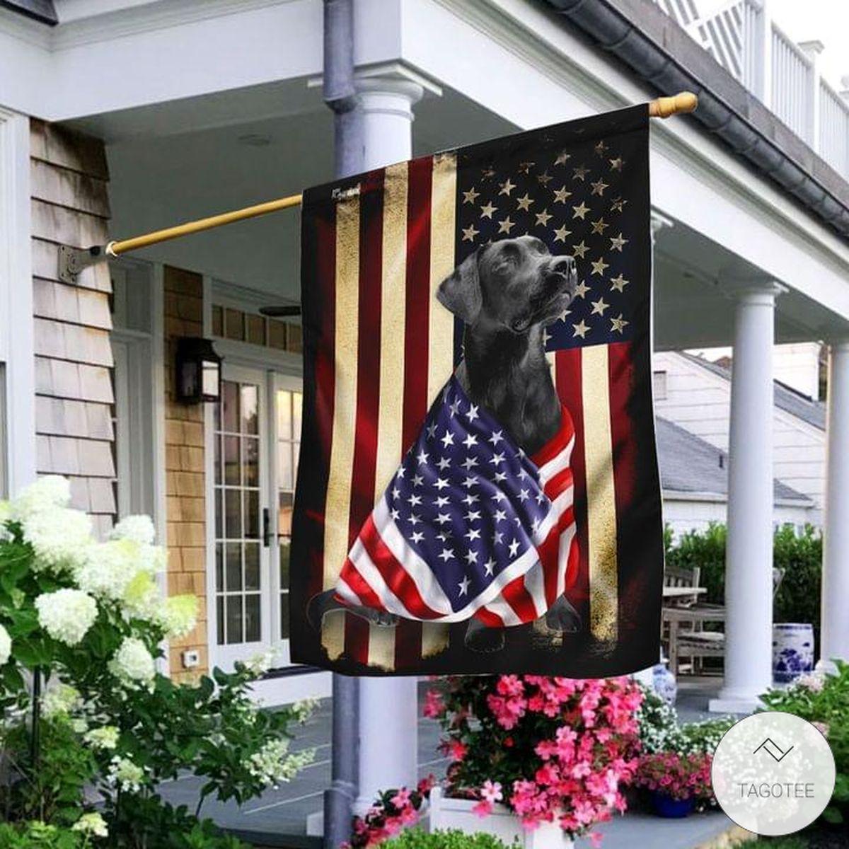 Black Labrador Retriever American Patriot Flag