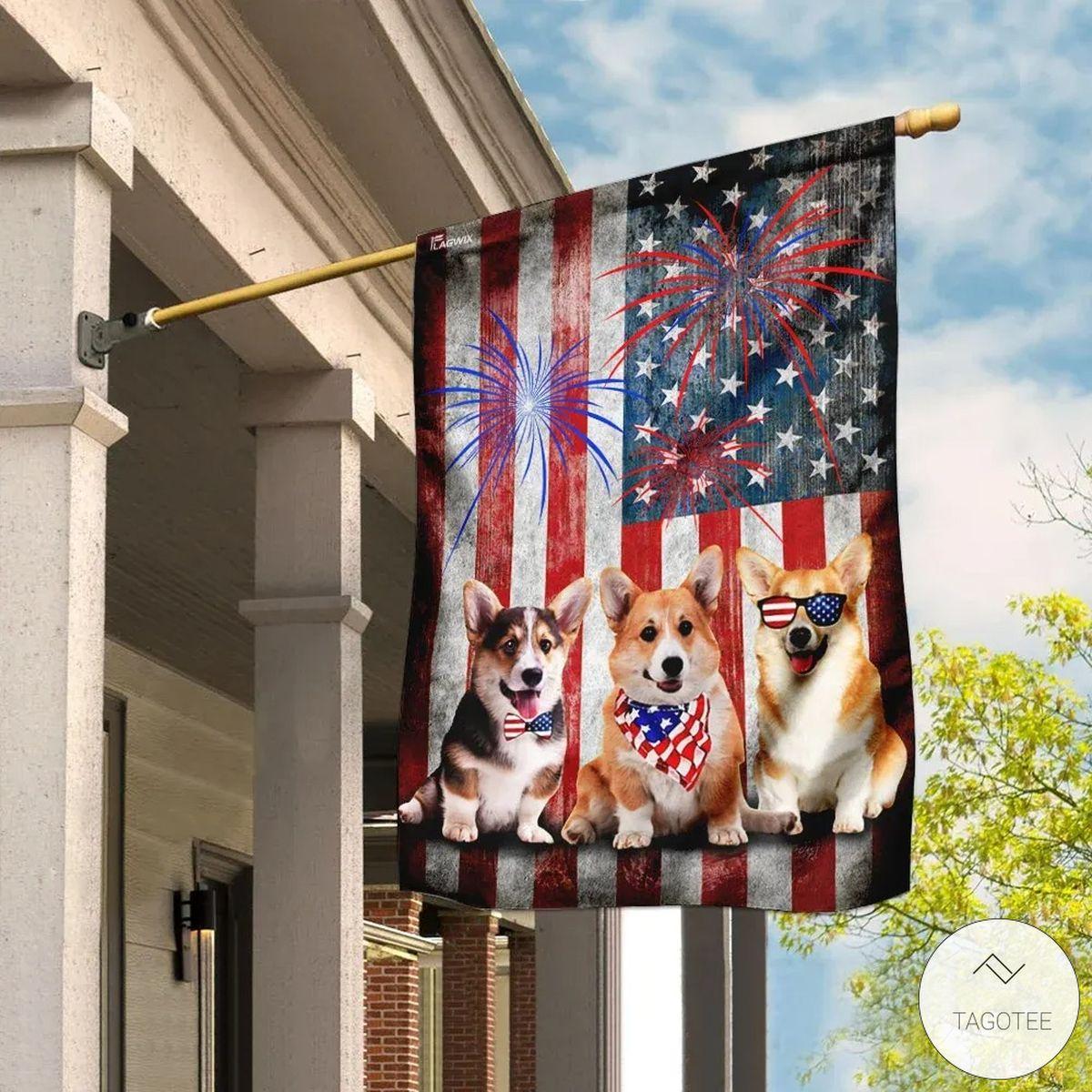 Corgi Happy 4th Of July American Flag